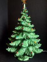 "Vtg Christmas Tree Artificial Ceramic Lighted 25"" Music Box 4 pc Atlantic Mold"