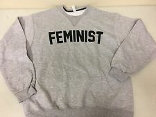 FEMINIST GENDER EQUALITY PROTEST RIGHTS PRIDE Unisex Gray Sweatshirt Sz L