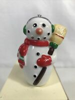 Vintage Midwest Importers Ceramic SNOWMAN Christmas Ornament Cannon Falls 3 1/4""