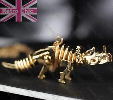 Grandes 8 Cm Dinosaurio Esqueleto Collar Largo Colgante Calavera Oro Plateado Gothic Fashion