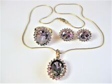 Set of Ring, Earrings, Pendant with Necklace Silver 925 Gold Plated Zirconia