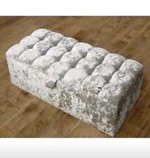 Silver Grey Velvet Diamante Sparkly Tassel Crystal Stool Pouffe Foot Rest Seat
