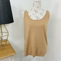 RM Williams Womens Tieri Merino Knit Top Singlet Brown Size 14 NWT