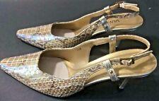 "Vaneli Vero Cuoio Slingback Dress Pumps 7 1/2 M Reptile Irridescent 3"" Heel NEW"
