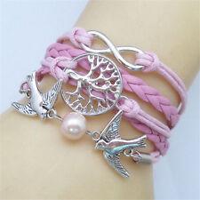 *UK* Ladies leather look birds anchor Multilayer vintage infinity bracelet 1074
