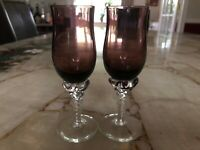 Blown Glass Purple Cordial Glasses with Clear Applied Twisted Stem set of 2.
