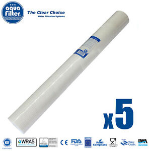 """Aquafilter 20"""" x 2.5"""" 1 Micron Sediment Cartridge Water Filter x 5 FCPS1-L"""