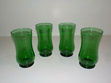 """Vintage 4 Emerald Forest Green Hourglass Shaped Glass Tumblers  6"""" tall"""