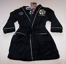 Collingwood Magpies AFL Boys Black Fleece Dressing Gown Size 3 New