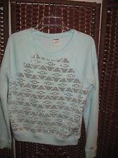 Victorias Secret Pink S light aqua blue sweatshirt pullover silver 3 5 jrs