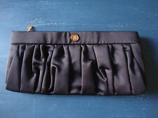 "AUTHENTIC GUERLAIN BLACK ZIPPERED AND LINED CLUTCH MAKE-UP BAG, 11 1/2"" L (#26)"