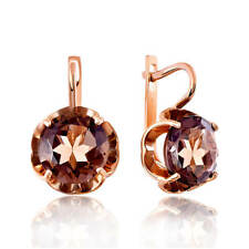 NEW Russian fine jewelry Solid Rose gold 14K 585 earrings woman topaz brown 5.5g