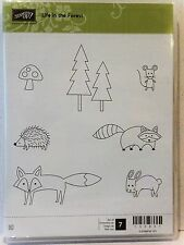 Stampin Up LIFE IN THE FOREST clear mount stamps NEW Animals Trees mouse fox