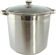 NEW EUROHOME 3020 20 QUART STAINLESS STEEL STOCK POT & GLASS LID SALE 7035009