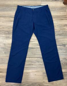 Men Under Armour Loose All Season Gear navy blue polyester golf pants, 40/34