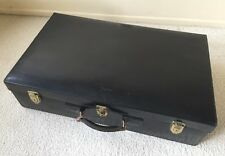 DELUX 1930s FRENCH Black SADDLE LEATHER SUITCASE Brass Hardware Case Trunk PARIS