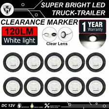 "10x 6 LED White Clearance Light 1-1/4"" Round Side Marker Waterproof Truck Bus AU"