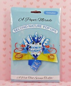 A PAPER MIRACLE Second Nature Pop Ups GRADUATION CARD  'Awesome!'