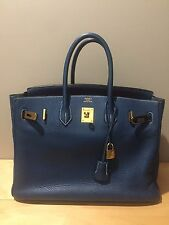 Authentic Hermes Birkin Bag 35cm Blue Thalassa With Gold Hardware