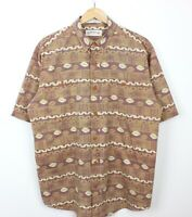Orvis Mens Short Sleeve Aztec Print 100% Cotton Relaxed Fit Summer Shirt Size M