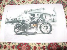 Man on motorcycle photo vintage harley 4x6 biker knuckle not hells angel
