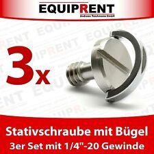 """3x Stativschraube / Fotoschraube mit Bügel 6,35mm (1/4"""" Zoll bzw 1/4""""-20) EQ985"""