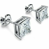 Sterling Silver Princess Cut Stud Earrings Cubic Zirconia 4mm Silver Round CZ