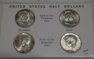 1963-64 The Last Franklin & 1st Kennedy US 90% Silver Half Dollar Set in Holder