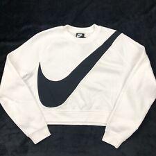 Nike Women's Cropped Swoosh Fleece Crew Sweatshirt White Black Sz L Bv3933 100