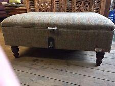 Large Harris Tweed Footstool Ottoman Bracken Bowmore