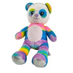 "Build A Bear Rainbow Panda Plush 17"" Sparkle Silver Feet Stuffed Animal BAB"