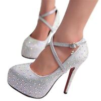 Women High Heels Prom Wedding Platforms Glitter Rhinestone Bridal Shoes