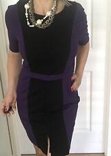Jane LAMERTON WOMENS DRESS TAILORED LINED PURPLE BLACK ZIP SZ 12