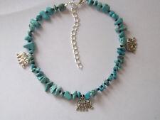 Turquoise Chips Elephant Charms Anklet Ankle Bracelet Hippy Festival Boho