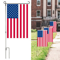 Outdoor Garden Iron Flag Pole Yard Flagpole Stand Holder Banner Bracket Rack US