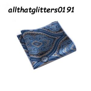 Blue & Gold Silk Pocket Square Handkerchief For Jacket Pocket Great As A Gift