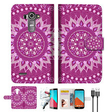 Purple AZTEC TRIBAL Wallet TPU Case Cover For LG G4-- A003