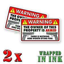 WARNING Video Surveillance Stickers Home Alarm Stickers RED REC. Decal 2 PACK