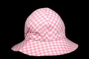 CHANEL 1993 93P Vintage Pink & White Gingham Quilted Cotton Bucket Hat 58