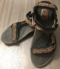 Teva Mens size 9 Spider Rubber Soles Strapped Sandals Brown Sport WaterShoes