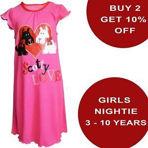 Girls Hot Pink Scotty Dog Love Nightie Nightwear Pyjama Night Dress BHS