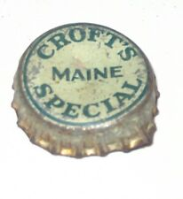 Croft Maine Special Beer Ale Bottle Cap RARE Cork Lined Crofts Brewing Boston MA