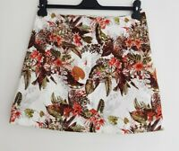 RIVER ISLAND Women's Ivory Floral Patterned Cotton Mini Skirt. Size UK 12, US 8.