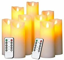 9 Flameless LED Candles Flickering Battery Operated Ivory Dripless Real Wax