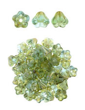 50 Aquamarine Celsian Bell Flower Czech Glass Beads 6MM