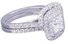 14K White Gold Cushion Cut Diamond Engagement Ring And Band 1.85ct G-Vs2 Egl Usa