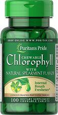 2X Chlorophyll with Natural Spearmint Flavor 100 Tab Chewable breath freshner