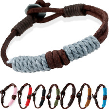 12pcs Explosion Hot Retro HandmadeWoven Leather Bracelet Couple Color Bracelets