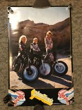 1986 Vintage 34 x 22 JUDAS PRIEST Poster Rock Metal Motorcycle RARE Chopper Bike