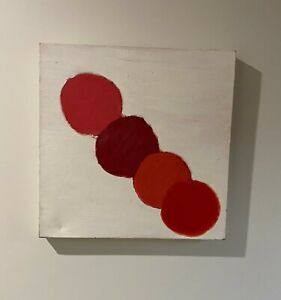 """Unknown Artist Framed Original Oil Painting """"untitled"""" Abstract Red Circles"""